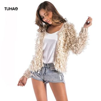 Trendy TUHAO Spring Faux Fur Knitted Bomber Jackets Women Basic Coat Long Sleeve Open Sequined Casual Outerwear Jaqueta Feminina TB7571 AT_94_13