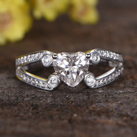 1 Carat Heart Moissanite Engagement Ring Diamond Promise 14k White Gold Split Shank Stacking Band