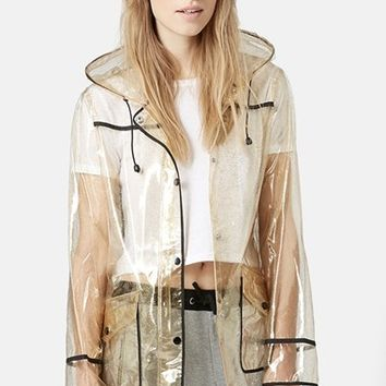 Women's Topshop Gold Glitter Transparent Plastic Rain Jacket