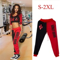 Women's Letter Printing Pants Suicide Squad Harley Quinn Joggers Trousers Ladies Tracksuit Bottoms Jogging Gym