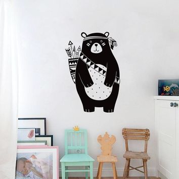 Tribal Bear Wall Decal Woodland Animal Bear Wall Sticker For Kids Room Tribal Nursery Wall Sticker Home Decoration Vinyl Mural