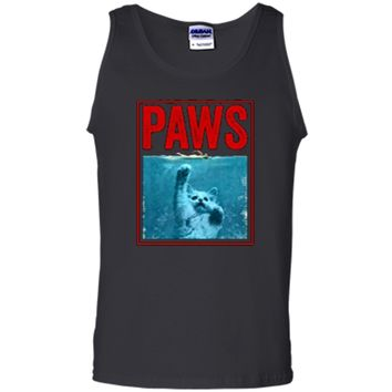 PAWS Funny Cat Kitten  For Shark And Cat Lovers Tank Top