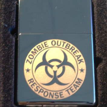 Zippo Custom Lighter - Biohazard Toxic Seal Zombie Outbreak Response Team Logo Black ICE High Polish Chrome Rare 150MP324853