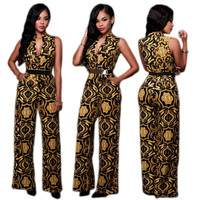 Indian Mandala Gold Jumpsuit with V-Neckline 22151