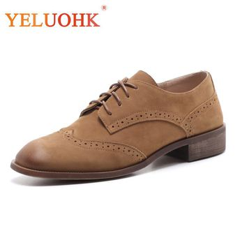 Oxfords Shoes For Women Natural Suede Women Flat Shoes Lace Up H a042616329