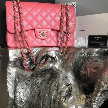 NWT CHANEL 2018 18S PINK CAVIAR JUMBO Classic Double Flap NEW Gold ROSEY PINK