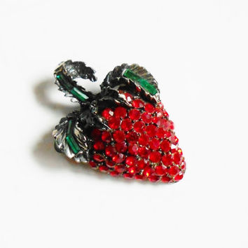 Strawberry Pin, Signed Pell, Red Pave Rhinestone Strawberry Brooch, Black Japanned, Emerald Green Stones, Signed Designer Vintage Jewelry