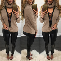 Turtleneck Sweater with Lace Up Details