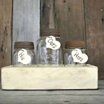 Wedding Sand Ceremony Set - Country, Shabby Chic, Rustic, Woodland - Mason Jar Set - Annie Sloan Chalk Paint in Cream
