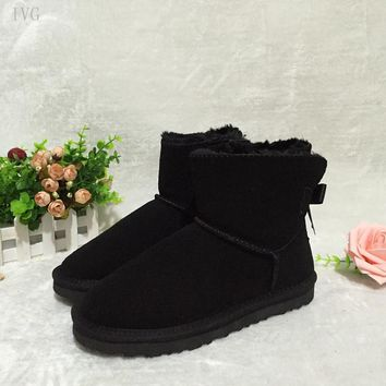 IVG Warm Fur Snow boots Ug women 2017 Top High quality Australia Boots One Butterfly-knot Winter Boots for women Free Shipping