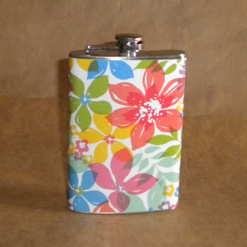 Watercolor Floral Print 8 ounce Stainless Steel Gift Flask KR2D 6320