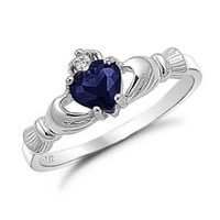 Sterling Silver Irish Claddagh Friendship Ring with Simulated Blue Sapphire Size 4