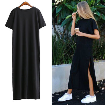 [TWOTWINSTYLE] 2016 Fashion Streetwear High Slit Long T-shirt Women Dress Loose Big Size Short-sleeved Black Summer New