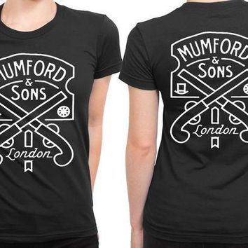 ESBH9S Mumford And Sons Logo Two Pistols And London 2 Sided Womens T Shirt