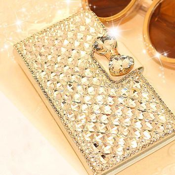 Luxury Bling Bowknot Crystal Rhinestone Diamond Wallet Flip Case Cover For iPhone 5 5S SE 6 6s 6 plus 6s plus Phone Accessories
