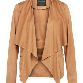 Tan Suedette Waterfall Jacket