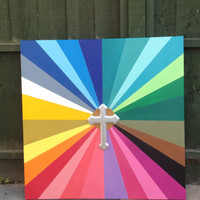 rainbow painting with wooden silver cross,stencils,spraypaints,canvas,religion,pop art,graphical,bright,large,home,living,worship,fine art,