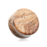 A Pair of Picasso Jasper Picture Stone Double Flared Ear Gauge Plug