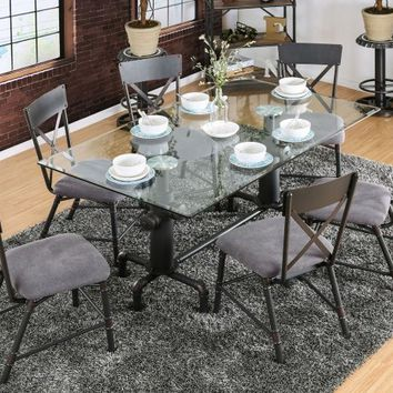 7 pc Flaherty collection antique black frame and glass top dining table set