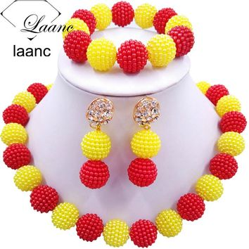 Laanc Latest Red Yellow Simulated Pearl Nigerian Beads Necklaces African Jewelry Set for Wedding AL666