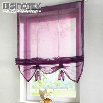 German Style Liftable Window Curtains Nice Sheer Voile Roman Curtain Tulle Blinds for the Kitchen Balcony Rod Pocket 1PCS