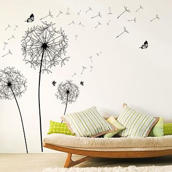 [Fundecor] Large Black Dandelion Flower Wall Stickers Home Decoration  Living Room Bedroom Furniture Art