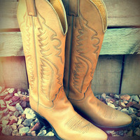 Vtg Tan Justin Leather Cowboy Boots Women's size 7 B