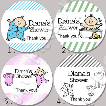 "Baby Shower Customized Mason Jar Labels - 2"" or  2.5"" round labels"