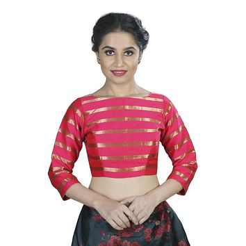 Designer Indian Traditional Pink Striped Padded  Long Sleeves Saree Blouse Choli (X-563)