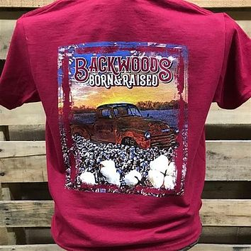 Backwoods Born & Raised Country Truck in Cotton Field Unisex Bright T Shirt