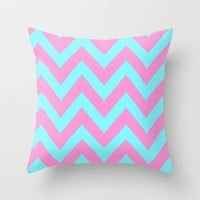 PINK & TEAL CHEVRON  Throw Pillow by natalie sales