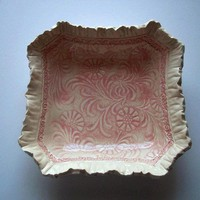 Victorian Pink Floral Ruffle Bowl by catspawpottery on Etsy