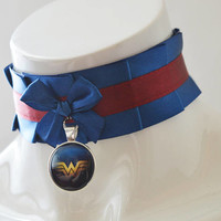 Geek choker - Wonder woman -  red and blue - dc universe necklace accessory costume cosplay prop - super hero girl lolita collar