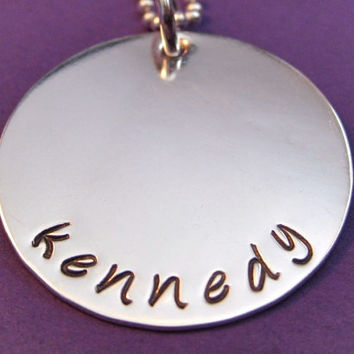 """Hand-stamped Name Necklace in Sterling Silver 1"""" - great for moms or grandmas"""