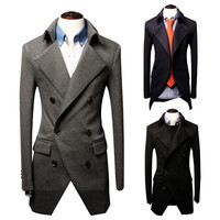 Tuxedo Style Mens Fashion Trench Coat