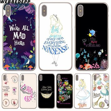 WEBBEDEPP Alice in Wonderland Anime Hard Transparent Cover Case for iPhone 8 Plus 7 Plus 6 6s Plus X/10 5 5S SE 5C 4 4S