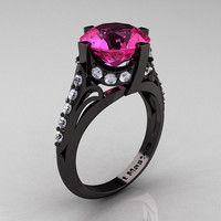 French Vintage 14K Black Gold 3.0 CT Pink Sapphire Diamond Bridal Solitaire Ring R306-14KBGDPS