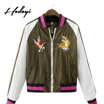 Hodoyi Women Fashion 2016 New Autumn Long Sleeve Casual Coat Loose Outwear Army Green Contrast Embroidery Tiger Bomber Jacket
