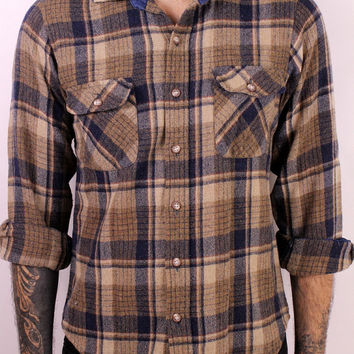 Vintage 70s 80s - Dark Blue & Brown Tan - Small Fitted - Button Up Collar - Long Sleeve Wool Flannel Mens Shirt - Grunge Boho