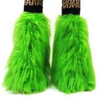 UV GREEN FLUFFY FURRY  BOOT COVERS LEGWARMER NEON PARTY  RAVE DANCE CLUBWEAR