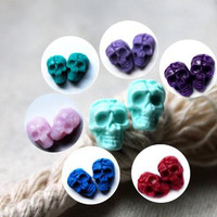 Skull Stud Earrings Skull Earrings  Skull Jewelry Skull Accessories  Day Of The Dead Earrings Skull Jewelry Set of earrings