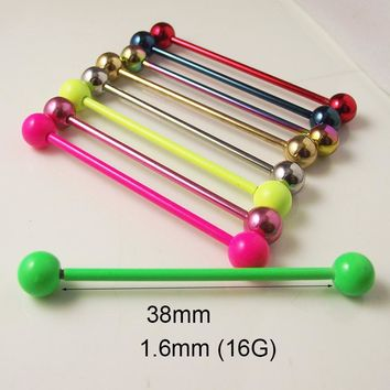 2 Pieces 14G 1.6x38x6mm Tongue Ring Neon Sweet Candy Color Stainless Steel ball Long  Industrial Barbell Body Piercing Jewelry