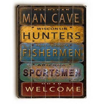 Man Cave License Plates by Artist Jean Plout Wood Sign