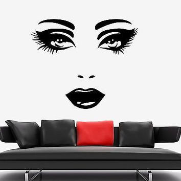 Wall Stickers Vinyl Decal Fashion Sexy Lips Eyes Hair Spa Beauty Salon EM417