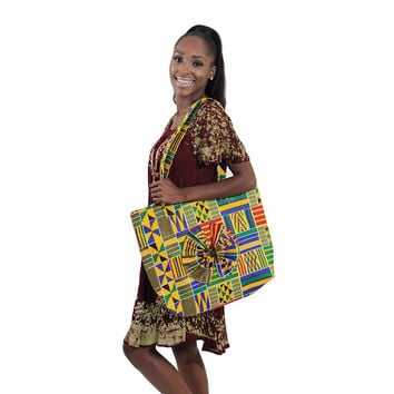 Kente Print Tote Bag