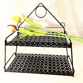 Mid Century Metal shelf, pierced metal shelves, retro shelves for bathroom, bedroom, wall decor and storage