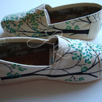 Branching out hand painted on TOMS shoes-made to order-cutomize the colors