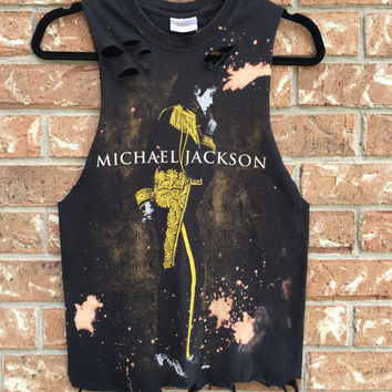 Michael Jackson bleached, distressed crop tank shirt, concert, band tee