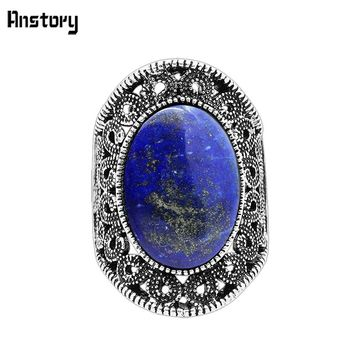 Hollow Flower Oval Lapis Lazuli Rings For Women Natural Stone Vintage Antique Silver Plated Fashion Jewelry TR622