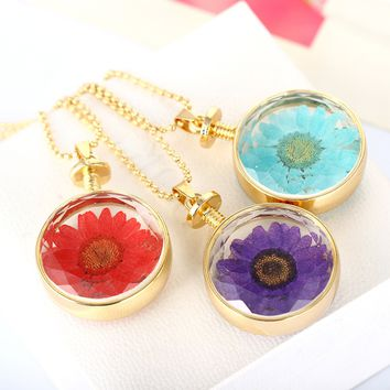 Handmade Vintage Jewlery Silver/Gold Color with Dried Press Flower Daisy Shaped Pendant Necklace for Women Wedding Gift